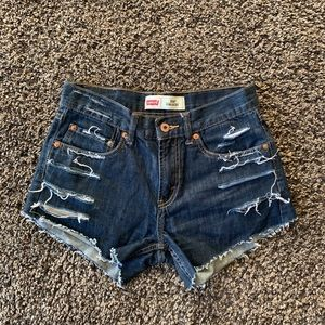 Levi's distressed jean shorts